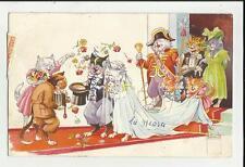 CARTOLINA FORMATO PICCOLO MATRIMONIO DI GATTI CATS 1958