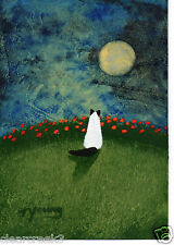 Ragdoll Rag Doll Himalayan Cat Outsider Folk Art Print Todd Young Moon Poppies