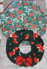 Vintage Christmas Wreath~Latch Hook Rug~22""