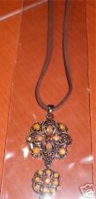 Brass and Topaz crystals on leather necklace