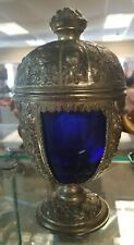 Ornate Silver w/Cobalt Blue Glass Insert 1921-47 Art Nouveau Chalice Tobacco Jar