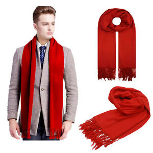 Mens Classic Scarf Winter Warm Soft Fringe Striped Tassel Long Shawl Wrap