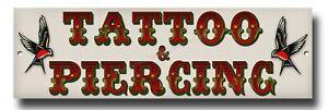 """TATTOO & PIERCING METAL SIGN - SIZE 12"""" X 4"""" - COOL TATTOO STUDIO SIGNAGE."""