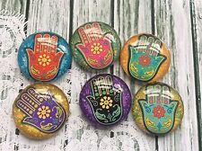 10 x 25mm Round Hamsa Hand of Fatima Glass Image Cabochons for jewellery making