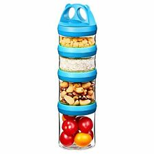 Tritan Portable and Stackable 4-Piece Twist Lock Storage Container and Jars to S