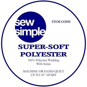 """100% Polyester Quilt Wadding by Sew Simple 90"""" (220cms) x 50cms Quilts Crafts"""