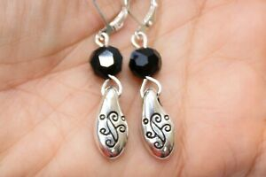 Altered Brighton Silver Etched Charm Black Crystal Lever Back Earrings