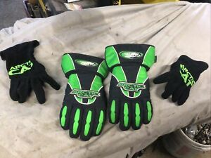 HI-CUFF LEATHER PALM REMOVABLE LINING ARCTIC CAT SNOWMOBILE GLOVES vintage