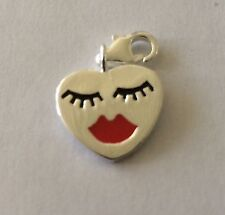 SILVER FACE WITH EYEBROWS & RED LIPS CLIP-ON CHARM FOR BRACELET-925 SILVER PLATE