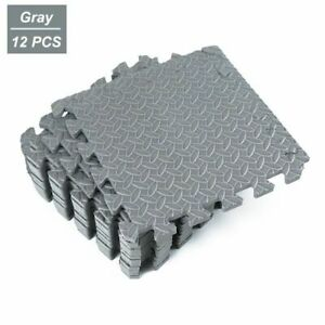 12PCS Protective Floor Mats Interlocking Gym Tile Mat Fitness Flooring Carpet