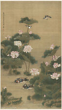 Chinese antique painting Mandarin ducks on lotus pond by Shen Quan Qing dynasty
