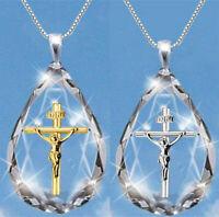 Teardrop Crystal Cross Necklace Stainless Steel Jesus Cross Pendant Necklace