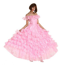 Men Off Shoulder Sissy French Maid Puffy Long Prom Pink Dress Crossdresser