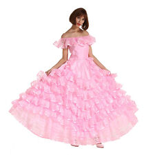 Off Shoulder Sissy French Maid Puffy Long Prom Pink Cosplay Dress Crossdresser