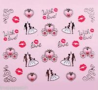 Valentines Nail Art Stickers Decals Wedding Lips Carriage Metallic Silver Gold