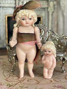 Vintage Miniature Dollhouse Artisan Cathy Hansen Bisque Pair Blonde Dolls Cute!