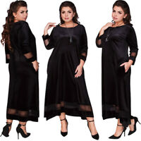 Womens Plus Size Long Dress Velvet Evening Cocktail Skirt 3/4 Prom Gown Elegant