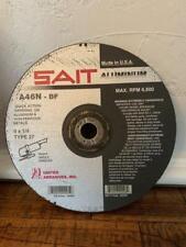 "New listing Sait 20093 9"" x 1/4"" x 7/8"" Arbor A46N-Bf Aluminum Type T27 Grinding Disc 10pk"