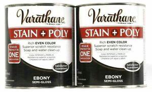 (2) Varathane Stain & Poly In 1 Application 214464  Rich Ebony Semi Gloss 32 Oz