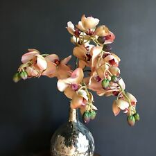 5 Pink Peach Artificial Orchid Flower Stems Realistic Faux Silk Green Branches