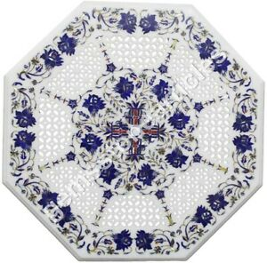"""16""""x16"""" Marble Top Customize Table Lapis Lazuli Marquetry Inlaid Halloween Gift"""