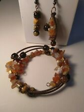 Amber bracelet and earrings, autumn jewelry, agate jewelry
