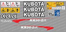 Kubota kx36-2a Mini Gräber komplett Abziehbild Satz mit Sicherheit Warnzeichen