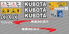 Kubota KX36-2A Ensemble Complet Autocollant Mini Pelle
