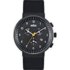 BRAUN Mens Black IP Ion-Plated Watch Leather Strap w/Date BN0035BKBKG *NEW*