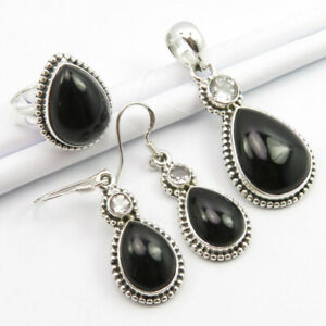 Pure Silver 92.5 Genuine BLACK ONYX & BLUE TOPAZ Pendant Earrings Ring #7.25 SET