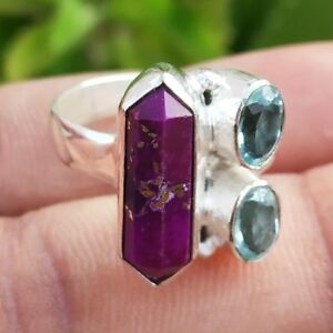 Purple Copper Turquoise & Blue Topaz Silver Plated Handmade Ring Size - 7 RI-039