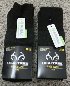 4 Pair of New REALTREE Wool Blend Hunting Hiking Socks Size LARGE Shoe 9-12