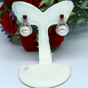 NATURAL 8 mm. ROUND WHITE PEARL, RED RUBY & CZ EARRINGS 925 STERLING SILVER
