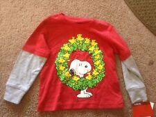 Peanuts-Woodstock-Baby-Boys-Wreath-Long-Sleeve-T-Shirt-Heather-Grey-Red  12 mo