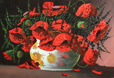 Vintage gouache painting still life with poppy flowers