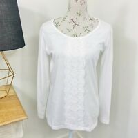 RM Williams Womens Top White Pima Cotton Long Sleeve Size 14