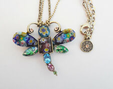 NEW SWEET ROMANCE LARGE MILLEFIORI GLASS DRAGONFLY PENDANT NECKLACE ~MADE IN USA