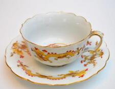 Antique MEISSEN Crossed Swords Mark Yellow DRAGON Red Dots Set Cup & Saucer