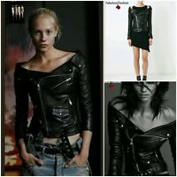 New Trendy & Chic Black Bare Shoulders Moto Style Zip Jacket L