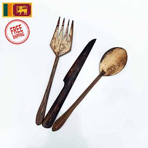 Handmade Cutlery Set Spoon Knife Fork Coconut Shell Kithul Palm Wood Non Toxic