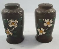 Vintage Ceramic Brown Vase White Flower Salt and Pepper Shakers