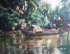 RARE ORIGINAL DENNIS SYRETT  Rice Boat Kerala Southern India jungle OIL PAINTING