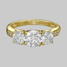 14K Yellow Gold Bridal 1.71 CT F/SI2 3-STONE Diamond Engagement Ring Round