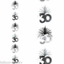 7ft Black Silver 30th Birthday Party Cascade Column Hanging Decoration