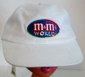 M&M's World adjustable baseball cap White w/ embroidered logo NWT adjustable