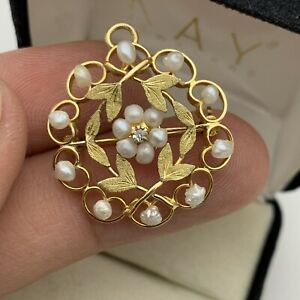 Antique Vintage 10k Yellow Gold Diamond and Seed Pearl Brooch/Pendant
