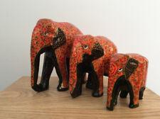Kashmiri Papier Mache Elephants | Family of 3 | L, M & S | Orange & Gold