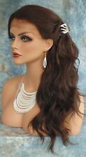 LACE FRONT HAND TIED EAR TO EAR LACE HEAT FRIENDLY #4 DK BROWN WIG US SELLER 250