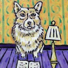 Corgi Art PRINT on dog TILE ceramic folk pop Coaster JSCHMETZ gift library art