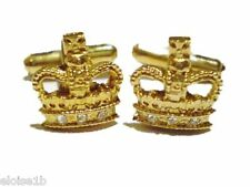 STUNNING GOLD CROWN JEWELED CUFFLINKS,  WITH VELVET POUCH,  uk seller